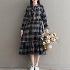 Bow Accent Plaid Long-Sleeve Midi Dress 1596