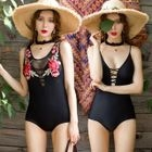 Set: Embroidered Swimsuit + Lace-Up Swimsuit 1596