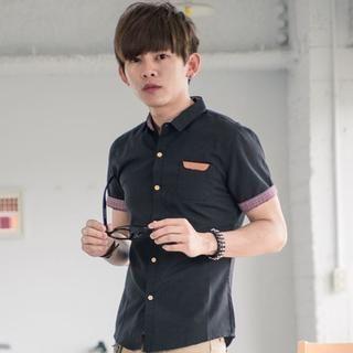 plaid-patchwork-short-sleeve-shirt