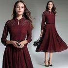 Long-Sleeved Tie-Waist A-Line Plain Lace Long Dress 1596