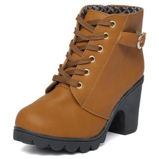 Chunky Heel Belted Boots