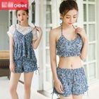 Set : Floral Print Bikini + Swim Shorts + Cover-up 1596