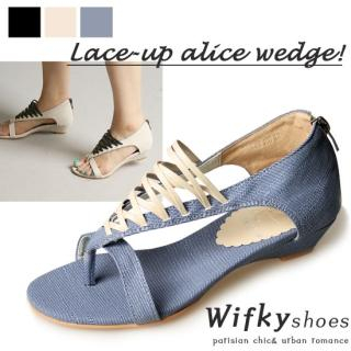 Buy Wifky Lace-Up Side Open Wedge Pumps 1022981217