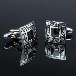 Square Embossed Cuff Link Silver, Black - One Size