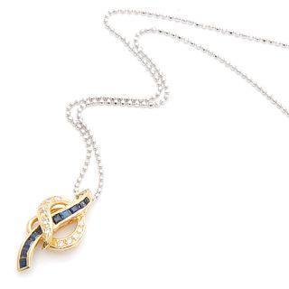 Sapphire | Diamond | Pendant | Yellow | Gold | Blue | 18K