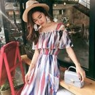 Striped Off Shoulder Short Sleeve Midi Chiffon Dress 1596