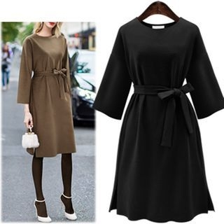Long-Sleeve Tie-Waist Dress 1061846344