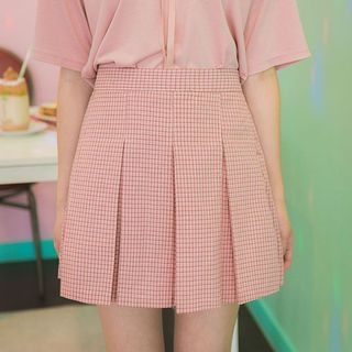 Band-Waist Pleated Plaid Mini Skirt 1060538863