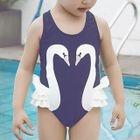 Kids Swan Print Swimsuit 1596