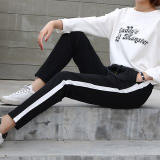 Contrast Trim Sweatpants 1063010953