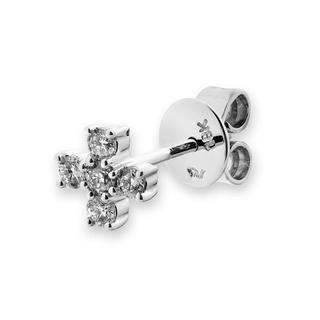 18K White Gold Diamond Accents Tiny Religious Cross Single Stud Earring (0.15cttw), Women Jewelry Gift - United states
