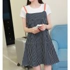 Set: Short-Sleeve T-Shirt + Striped Pinafore Dress 1596