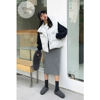 Band-Waist Ribbed Knit Long Skirt 1063471296