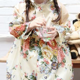 Image of Kids Floral Print Hooded Raincoat