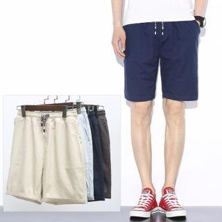 Plain Drawstring Shorts 1050567208