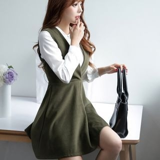 Set: Collared Top + Sleeveless Wool Dress 1048129116