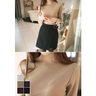 Boat-Neck Knit Top 1056947749
