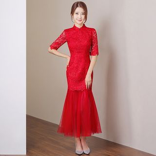 Elbow-Sleeve Lace Panel Evening Gown 1053827470