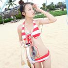 Set: Striped Bikini + Halter Top + Shorts 1596