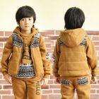 Kids Set: Printed Hoodie + Sweatpants + Patterned Panel Padded Vest 1596