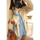 Bird Appliqu  Elbow-Patch Cardigan 1596