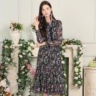 Floral Print Long Sleeve Midi Chiffon Dress 1596
