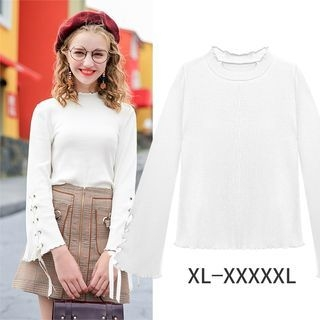 Lace Up Long-Sleeve Knit Sweater 1062338126