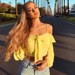 Image of Cold Shoulder Long-Sleeve Cropped Top