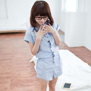 Buy LULUS Short-Sleeve Playsuit with Belt 1023056542