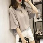 Plain Elbow Sleeve Chiffon Top 1596