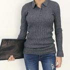 Collared Slim-Fit Ribbed Knit Top 1596