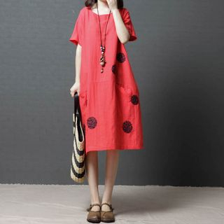 Image of Dotted Short-Sleeve Dress