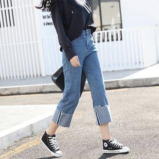 Plain High Waist Wide Leg Jeans 1057460003