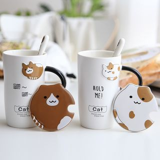 Set: Cartoon Cup + Lid + Spoon 1065188051