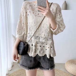 Image of 3/4-Sleeve Perforated Top