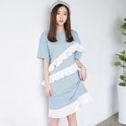 Ruffle Trim Short-Sleeve Dress 1596
