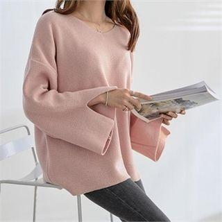 Drop-Shoulder Slit-Sleeve Knit Top 1057255116