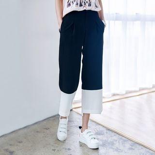 Color Block Cropped Wide Leg Pants 1050452797