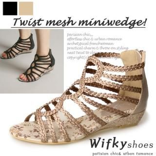 Picture of Wifky Woven Strappy Wedge Sandals 1022884601 (Sandals, Wifky Shoes, Korea Shoes, Womens Shoes, Womens Sandals)