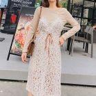 Set: Sleeveless Lace Dress + Long-Sleeve Dress 1596