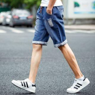 Distressed Washed Denim Shorts 1049500887