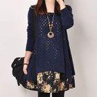 Floral Print Hem Open Knit Sweater Dress 1596