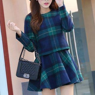 Set: Plaid Long-Sleeve Top + Plaid A-Line Skirt