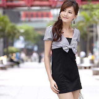 Buy 59th Street Set: Houndstooth V-Neck Dress + Bandeau Black – One Size 1022647774