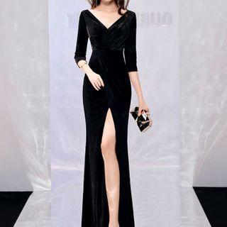 Image of 3/4-Sleeve Maxi Mermaid Velvet Dress