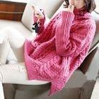 Plain Turtleneck Cable-Knit Sweater 1596