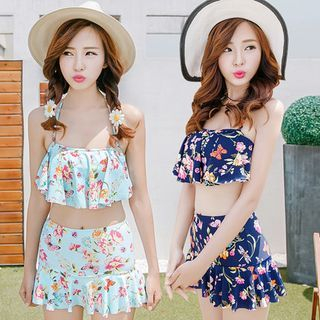 Set: Frilled Floral Swim Top + Floral Swim Skirt 1049191498