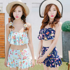 Set: Frilled Floral Swim Top + Floral Swim Skirt 1596