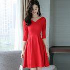 Elbow-Sleeve V-Neck A-Line Dress 1596
