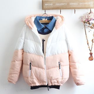 Two-Tone Hooded Puffer Jacket